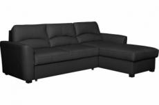canapé d'angle convertible en cuir de luxe italien , 5 places lugano, noir, angle droit