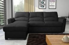 canapé d'angle convertible en cuir de luxe italien , 5 places lugano, noir, angle gauche