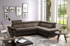 canapé d'angle en tissu luxe 5 places lugo chocolat, angle droit