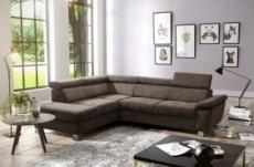- canapé d'angle en tissu luxe 5 places lugo chocolat, angle gauche