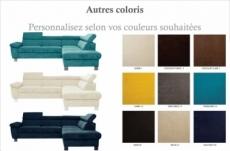 canapé d'angle en tissu luxe 5 places lugo couleur personnalisée, angle droit