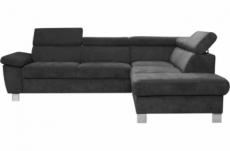 canapé d'angle en tissu luxe 5 places lugo gris foncé, angle droit