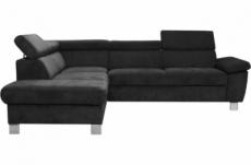 canapé d'angle en tissu luxe 5 places lugo noir, angle gauche
