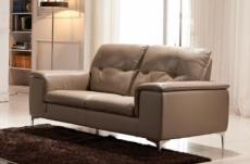 canapé 2 places en cuir italien buffle luigi, beige
