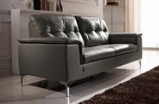canapé 2 places en cuir italien buffle luigi, gris foncé