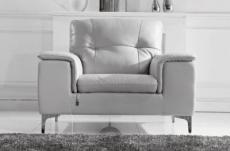 fauteuil 1 place en cuir italien buffle luigi, blanc