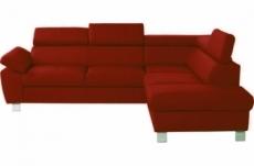 canapé d'angle en cuir italien de luxe 5 places lutece rouge foncé, angle droit