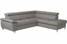 canapé d'angle convertible en cuir italien de luxe 5 places lutecia avec coffre, gris clair, angle droit