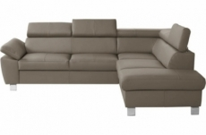 canapé d'angle en cuir italien de luxe 5 places lutece taupe, angle droit