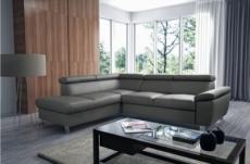 - canapé d'angle convertible en cuir italien de luxe 5 places lutecia avec coffre, gris foncé, angle gauche