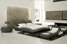 lit en cuir italien de luxe luxen, gris foncé