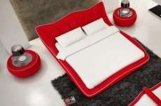 lit en cuir italien de luxe luxen, rouge