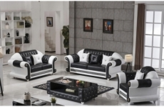 ensemble canapé 3 places et 2 places et fauteuil en cuir italien cachette luxor, noir et blanc