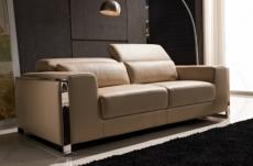 canapé 2 places en cuir italien buffle luxy, beige