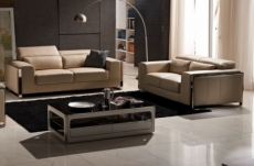ensemble canapé 3 places et 2 places en cuir italien buffle luxy, beige