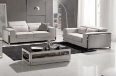 ensemble canapé 3 places et 2 places en cuir italien buffle luxy, blanc