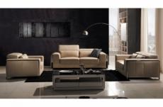 ensemble canapé 3 places et 2 places et fauteuil 1 place en cuir italien buffle luxy, beige