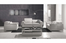 ensemble canapé 3 places et 2 places et fauteuil 1 place en cuir italien buffle luxy, blanc