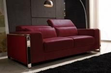 canapé 3 places en cuir italien buffle luxy, couleur bordeaux