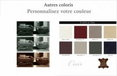 ensemble canapé 3 places et 2 places en cuir italien buffle luxy, couleur personnalisée