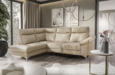 - canapé d'angle en cuir italien de luxe 5 places luzini beige, angle gauche