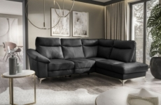 canapé d'angle en cuir italien de luxe 5 places luzini noir, angle droit
