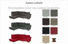 canapé d'angle en cuir italien de luxe 5 places luzerne, avec relax électrique et coffre, couleur personnalisée, angle gauche