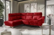 canapé d'angle en cuir italien de luxe 5 places luzini rouge foncé, angle gauche