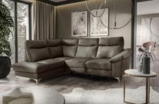canapé d'angle en cuir italien de luxe 5 places luzini taupe, angle gauche