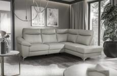 canapé d'angle en cuir italien de luxe 5 places luzini gris clair, angle droit