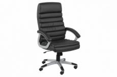 fauteuil de bureau confortable en simili cuir de qualité lyona, noir