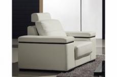 fauteuil une place en cuir italien maison blanche, blanc