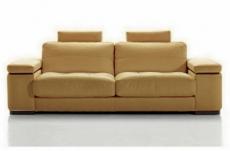 canapé 2 places en cuir italien maison blanche, beige