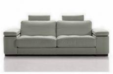 canapé 2 places en cuir italien maison blanche, gris clair