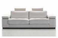 canapé 2 places en cuir italien maison blanche, blanc