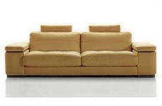 canapé 3 places en cuir italien maison blanche, beige