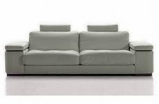 canapé 3 places en cuir italien maison blanche, gris clair
