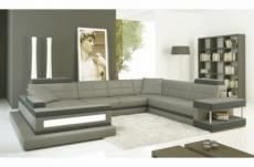 canapé d'angle en cuir italien 8 places majestic, gris clair