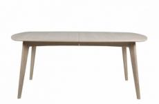 table à manger manzoni, coins ronds, placage chêne, traité huile (sans rallonge). modèle clair.