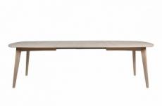 table à manger manzoni, coins ronds, placage chêne, traité huile avec rallonge. modèle clair.