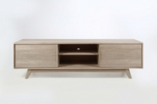 meuble tv design scandinave en bois massif finition chêne, marini