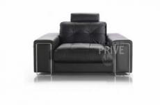 fauteuil une place en cuir prestige luxe haut de gamme italien matignon, noir