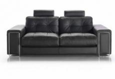 canapé 2 places en cuir prestige luxe haut de gamme italien matignon, noir venesetti