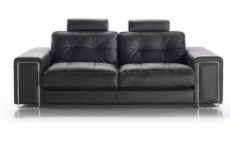 canapé 3 places en cuir prestige luxe haut de gamme italien matignon, noir venesetti
