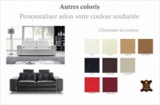 canapé 3 places en cuir prestige luxe haut de gamme italien matignon, couleur personnalisée
