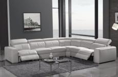 canapé d'angle double relax en cuir de buffle italien de luxe 7/8 places maxirelax, blanc, angle droit