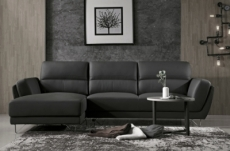 canapé d'angle de luxe 5 places costa, coloris noir, angle gauche