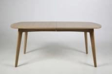 table à manger marie, coins ronds, bois massif, placage chêne. (sans rallonge). modèle foncé.