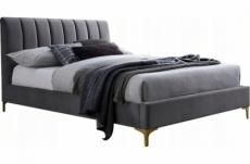 lit double en tissu velours de qualité michigan, gris, avec sommier à lattes, 160x200