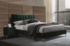 lit double en tissu velours de qualité michigan, vert, avec sommier à lattes, 160x200